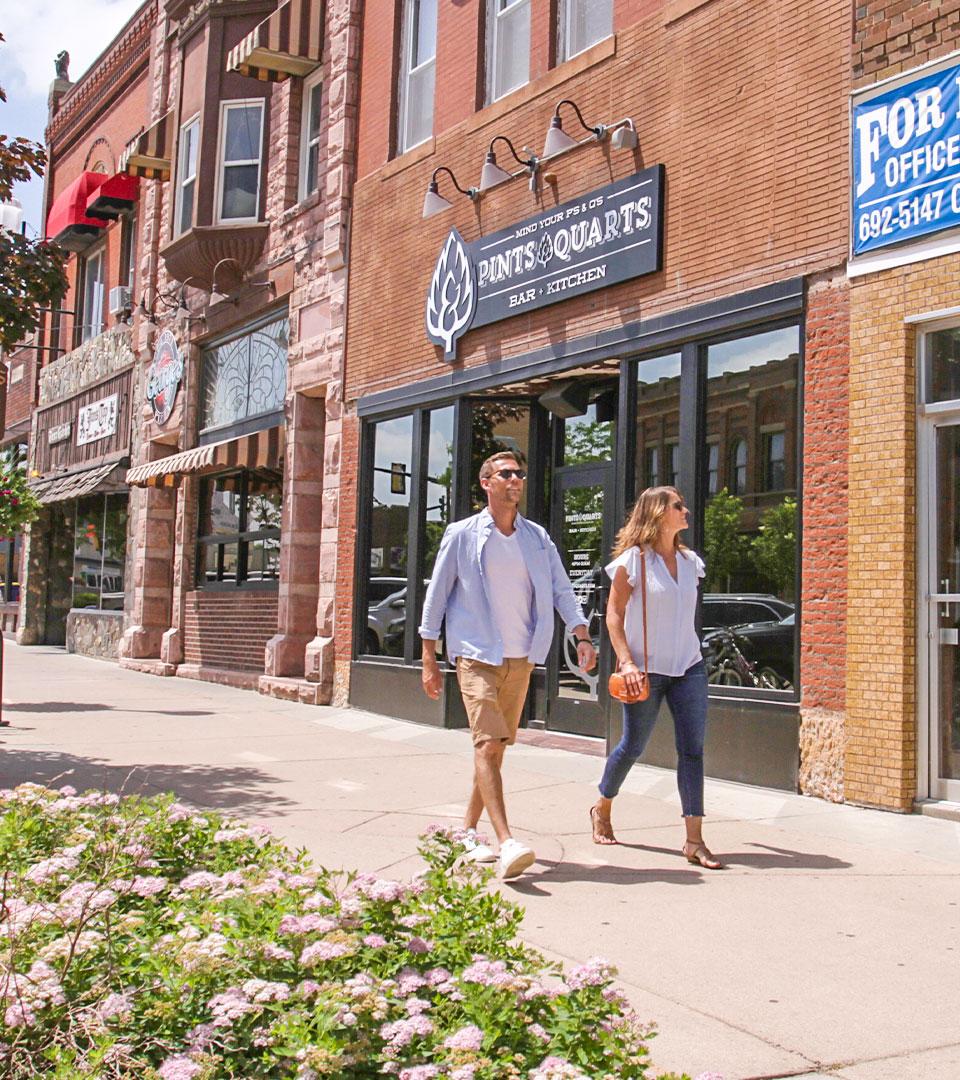 Couple walking in downtown Brookings