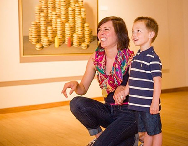 Mom and son at South Dakota Art Museum