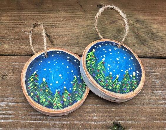 Wooden holiday ornaments Karen Kinder